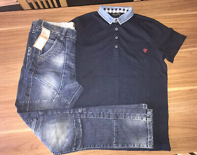 Next Boys Skinny Jeans And Navy Polo Shirt Denim  Age 12  New BNWT