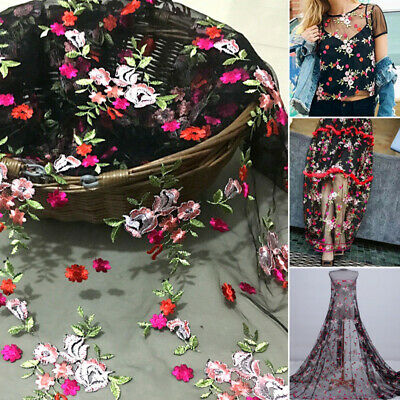 1 Yard 3D Flower Embroidery Lace Fabric Tulle Material DIY Wedding Bridal Dress