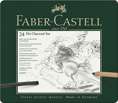 Faber-Castell Pitt Charcoal Professional Quality 24-Piece Set of Natural Draw...