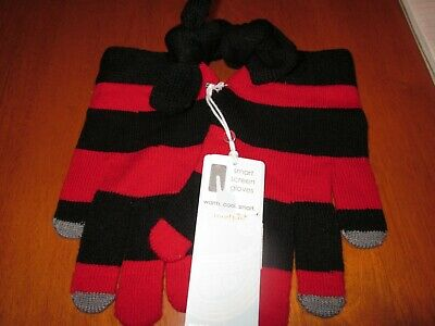 Mud Pie Smart Screen Gloves Black and Red Striped New With Tags