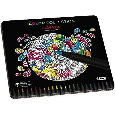 BiC Conte Limited Edition Colouring Pencil - Multi-Coloured, Tin of 24