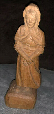 "Vintage Andre Bourgault Old Woman Hand Carved Wood Figurine 5 1/4"" Hands Folded"