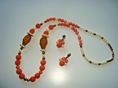 Vintage Chinese Necklace Earrings Carved Olive Nut Arhat and Dyed Quartz Beads