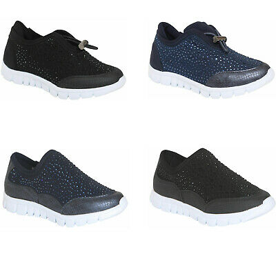 Kids Girls Flat Slip On Trainers Diamante Plimsolls Pumps Casual Canvas Shoes