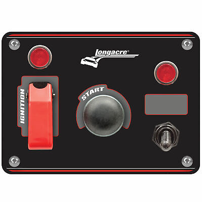 Longacre Black Ignition Switch Panel with Flip-Up Cover & 1 Accessory Switch