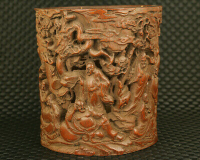 chinese bamboo hollow out carving arhat buddha statue ink brush brush pot/vase