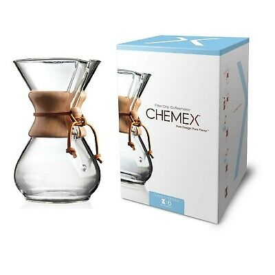 Chemex CHEM6WOOD 6-Cup Wood Neck Coffee Maker - Clear Classic