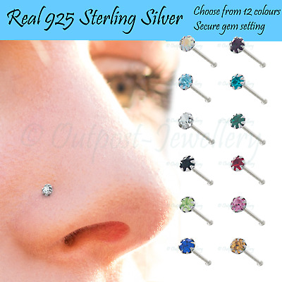 Tiny Nose Stud Real Sterling Silver Bone Prong Set Secure Crystal 925 Ball Ended