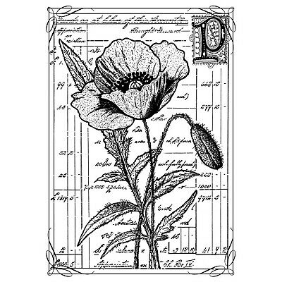 RS00018549 A8 /'Floral Border/' Unmounted Rubber Stamp