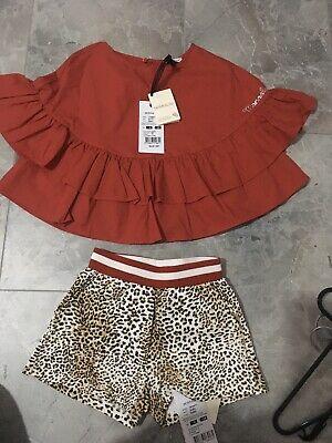 MONNALISA Girls 2 Piece Outfit Set Shorts & Top Age 8 Bnwt RRP£150