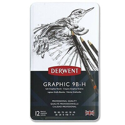 Derwent 34215 Graphic Soft Graphite Drawing Pencils, Set of 12, Professional ...