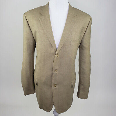 Gianfranco Ruffini Italy Men's Beige Tan Wool Suit Blazer Jacket Sport Coat 46L