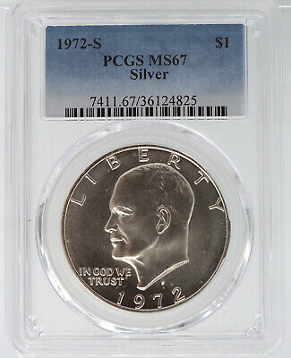 1972-S Silver Uncirculated Eisenhower Dollar Pcgs Ms67 4825
