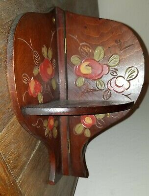 Vintage Pennsylvania Dutch Small Carved Handpainted Folding Corner Shelf
