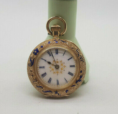 Rare Antique Beautiful 14K Gold Fob Pocket Watch White Enamel Dial Small 33 Mm.