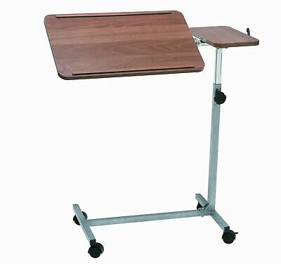 Drive Deluxe Height and Tilt Adjustable Over Bed Table with Twin Top and 4 ca...