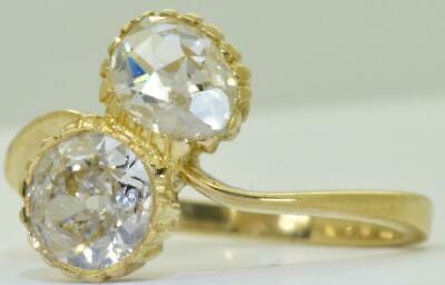 WOW! Antique Imperial Russian Toi et Moi love 18k gold & 1.75ct Diamonds ring