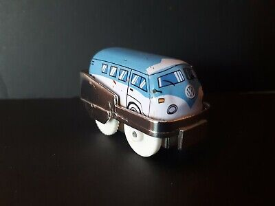 Vintage Tiny Tin Toy, Wind Up Blue And White Bus
