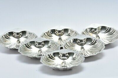 Highly Attractive Set of 6 x Vintage  Silver Plated Shell Dishes
