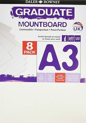Daler Rowney 329308091 Ice White A3 Graduate Mountboard (Pack of 8) - White