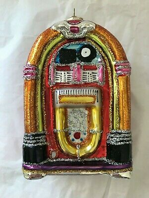 """OWC ~ Old World Christmas ~ """"Jukebox"""" (Red) Blown Glass Ornament ~w/ Metal Tag"""