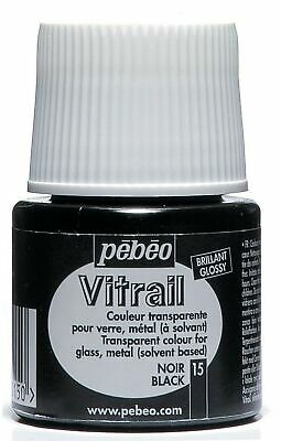 PEBEO Vitrail Stained Glass Effect Glass Paint 45-Milliliter Bottle, Black,Bl...