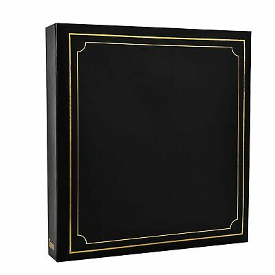 ARPAN Large Slip Album Holds 500 Photos 6'' x 4'' Gold Stamp Padded Cover Bla...