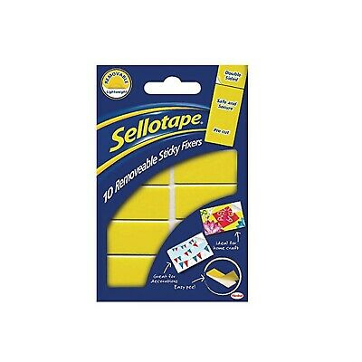 Sellotape SE04420 20mm x 40mm Removable Sticky Fixer 1 Yellow