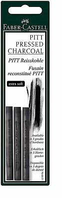 Faber-Castell Pack of 3 Compressed PITT Charcoal Sticks Black, Extra Soft