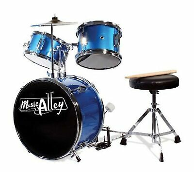 Music Alley 3 Piece Junior Drum Kit with Cymbal, Pedal, Stool and Sticks - Me...