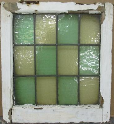 "OLD ENGLISH LEADED STAINED GLASS WINDOW Gorgeous Simple Color Block 18.5"" x 20"""