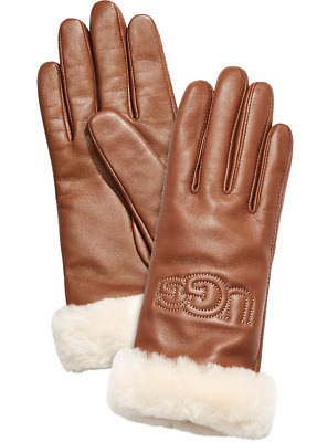 UGG Women's Brown Classic Leather Logo Tech Gloves 5522 Size M