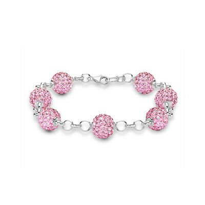 Silver SP925 Bracelet Dazzling Colour Heart Gems Crystals Charms Free Gift Bag