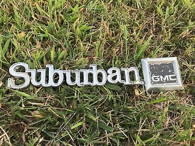Original GM 1973 - 1988 Suburban Rear Door Tailgate Metal Emblem