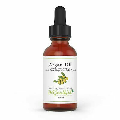 Pure Argan Oil 100ml - 100% Cold Pressed Organic Moroccan Oil For Face, Hair,...