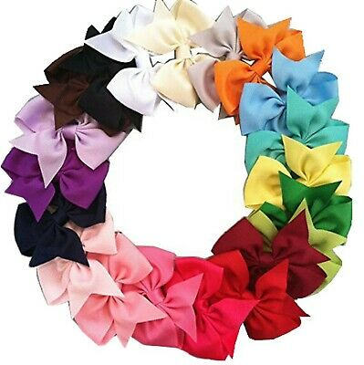20pcs Big Hair Bows Boutique Girls Alligator Clip Grosgrain Ribbon Headband