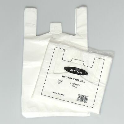 """White Plastic Vest Style Plastic Carrier Bags - 10"""" x 15"""" x 18"""" - (1 packet =..."""