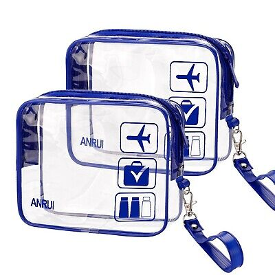 2pcs/Pack ANRUI Toiletry Bag with Strap, TSA Approved Carry On Airport Airlin...