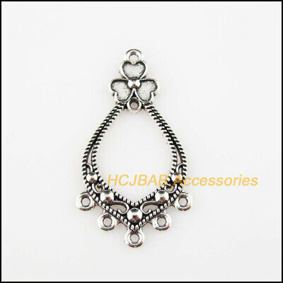 8Pcs Tibetan Silver Tone Halloween Skull Charms Bail Beads Fit Bracelets 9x49mm