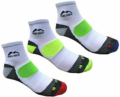 More Mile Mens London Cushioned Running Socks (3 Pair Pack) White 8-10 shoe