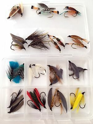 Fly Fishing  Double Wet Flies for Seatrout and Small Salmon Boxed Set of 16 #324