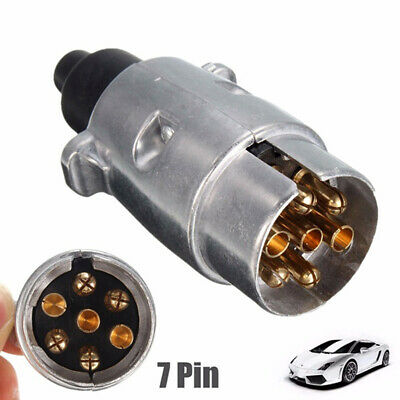 7 Pin Metal Trailer Plug Towbar Towing Lights Socket Car Van Caravan 12V APM JI