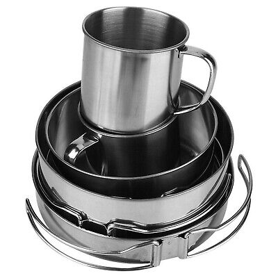 Alomejor Camping Cookware Mess Kit with Cup Plates Folding Handle Picnic Cook...