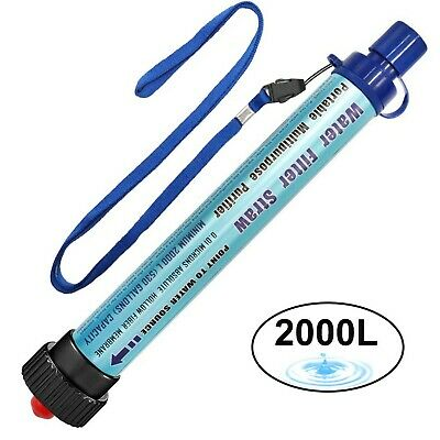 DeFe Personal Water Filter 2000L Portable Water Purification Straw Outdoor Su...