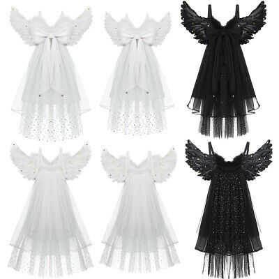 Kids Children Feather Angel Wing+Three Layered Tulle Trailing Veil+Bowknot Decor