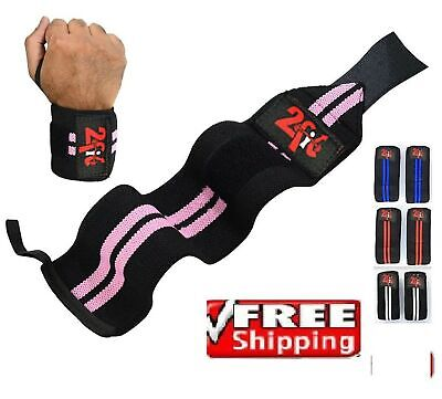 2Fit Power Weight Lifting Wrist Wraps Supports Gym Training Workout Exercise ...