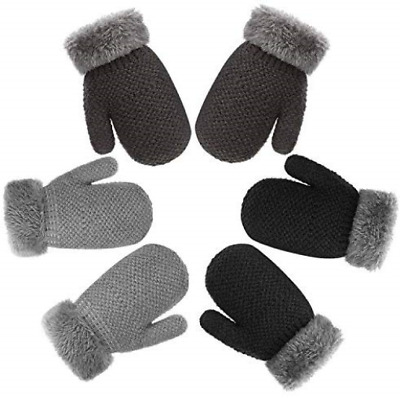 TAGVO 3 Pairs Winter Baby Toddler Warm Knitted Mittens Gloves, Cute Thicken Boys