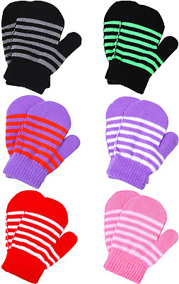 Cooraby 6 Pairs Toddler Baby Mittens Winter Warm Knitted Mittens Gloves for Boys