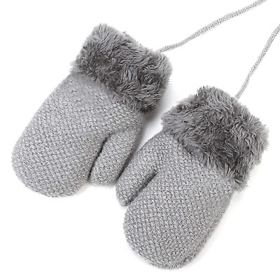 Baby Girls Boys Thermal Gloves Mittens Winter Warm Wool Knitted Gloves with Kids