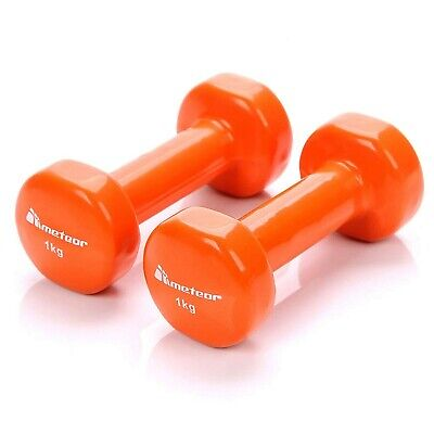 meteor Dumbbells Vinyl Dipped Dumbell Weights Fitness Home Gym Exercise Aerob...